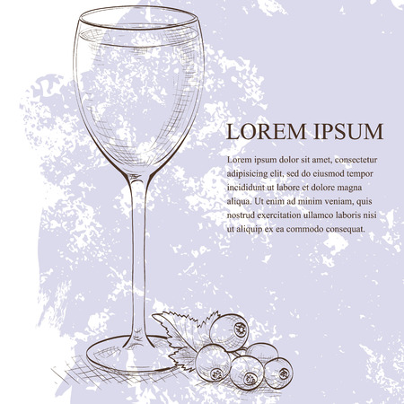 Kir scetch cocktail, consisting of Dry white wine and blackcurrant liquor Illustration