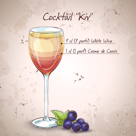 Kir alcohol cocktail, consisting of Dry white wine and blackcurrant liquor Illustration