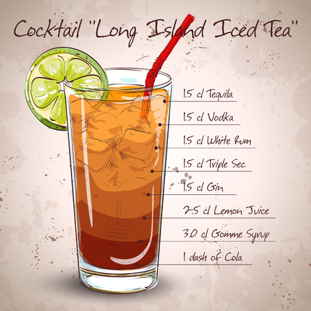 Cocktail Long Island Iced Tea Vodka, consisting of gin, rum Light, Silver tequila, orange liqueur, lemon, syrup, cola, ice cubes Illustration