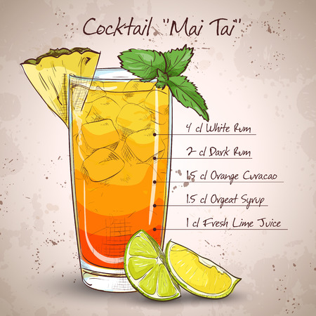 Cocktail Mai Tai with Light rum, dark rum, Orange Curacao, almond syrup, lime, ice cubes, pineapple, mint Stock Vector - 48647854