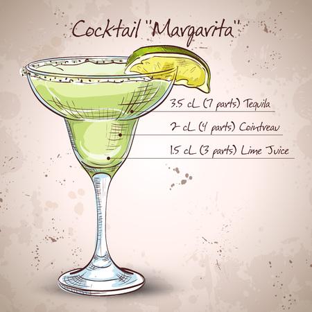 margarita cocktail: Cóctel margarita clásico con rodaja de limón y el borde salado.
