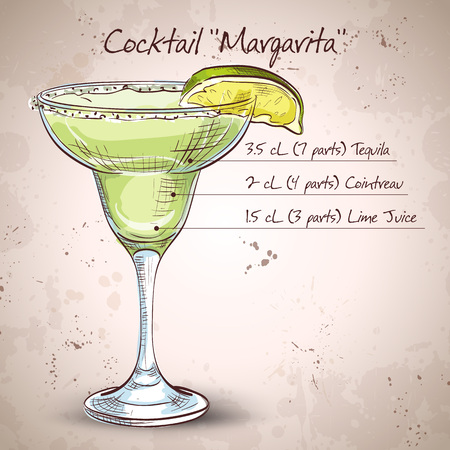 Classic margarita cocktail with lime slice and salty rim.