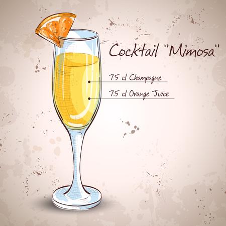 Cocktail alcohol Mimosa with Champagne, orange juice, orange Illustration