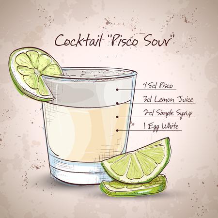 Peruaanse cocktail genaamd Pisco Sour gemaakt van Peruaanse druiven schnaps, limoensap, siroop, eiwit, en angostura. Stock Illustratie