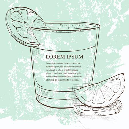 Peruaanse cocktail genaamd Pisco Sour schets gemaakt van de Peruaanse druiven schnaps, limoensap, siroop, eiwit, en angostura. Stock Illustratie