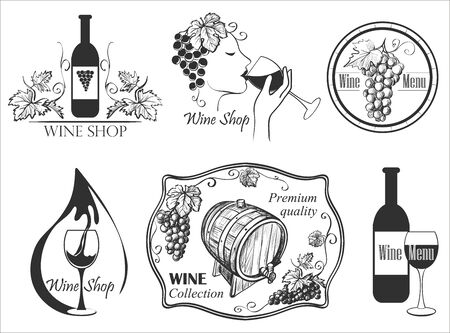 sommelier: Wine labels collection with bottle, glass, barrel, grapes, corkscrew, cheese, sommelier.