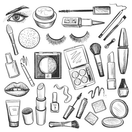 Hand drawn Beauty and makeup icons set with mascara, lipstick, creams, nail polish, powder, eye shadow, blush, brushes, glitter, lip
