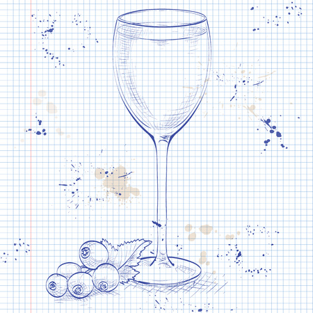 Kir alcohol cocktail, consisting of Dry white wine and blackcurrant liquor on a notebook page Illustration