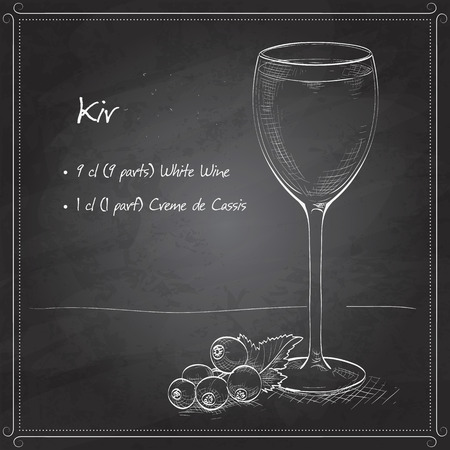 Kir alcohol cocktail, consisting of Dry white wine and blackcurrant liquor on black board