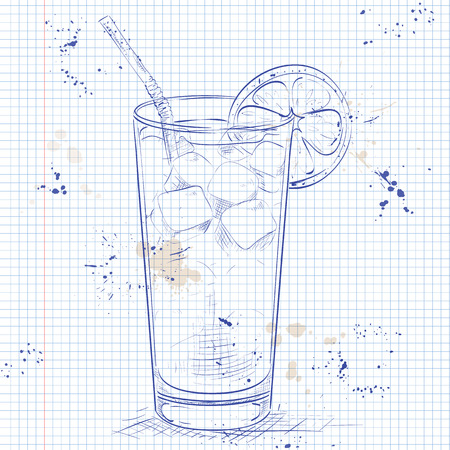 ice tea: Cocktail Long Island Iced Tea Vodka on a notebook page, consisting of gin, rum Light, Silver tequila, orange liqueur, lemon, syrup, cola, ice cubes
