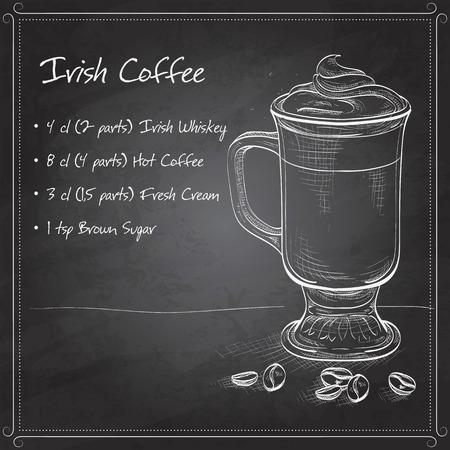 black coffee: Irish cream coffee with coffee beans on black board