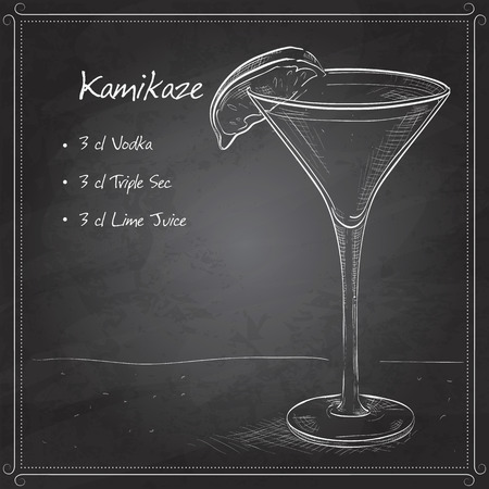 collins: Kamikaze alcohol cocktail, consisting of Vodka, orange liqueur, lime on black board
