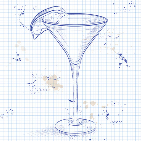 collins: Kamikaze alcohol cocktail, consisting of Vodka, orange liqueur, lime on a notebook page Illustration