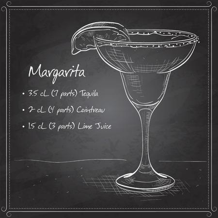 rim: Classic margarita cocktail with lime slice and salty rim Margarita on black board Illustration