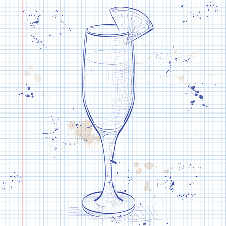 Cocktail alcohol Mimosa with Champagne, orange juice, orange on a notebook page