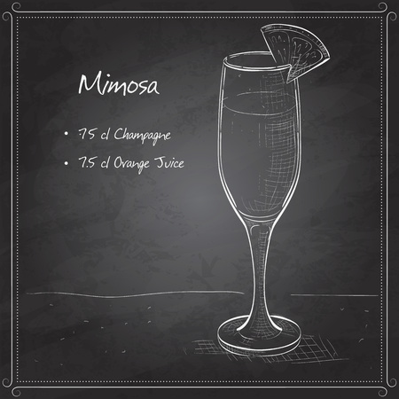 champagne orange: Cocktail alcohol Mimosa with Champagne, orange juice, orange on black board Illustration