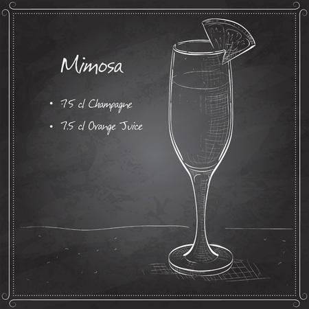 Cocktail alcohol Mimosa with Champagne, orange juice, orange on black board Vettoriali