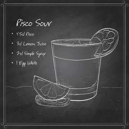 Peruaanse cocktail genaamd Pisco Sour gemaakt van Peruaanse druiven schnaps, limoensap, siroop, eiwit, en angostura op een zwarte boord