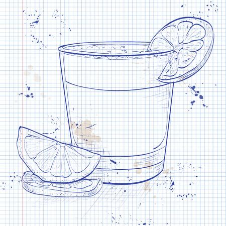 Peruaanse cocktail genaamd Pisco Sour gemaakt van Peruaanse druiven schnaps, limoensap, siroop, eiwit, en angostura op een notebook pagina