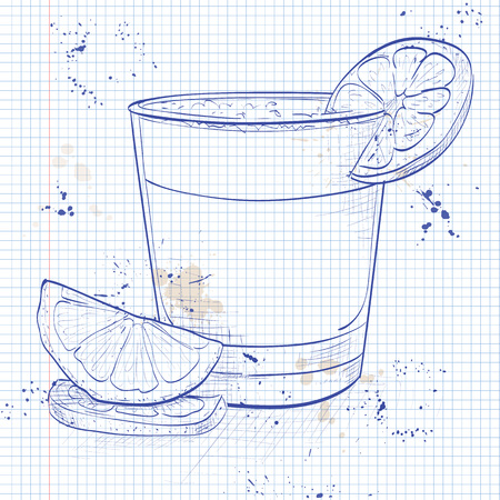lime juice: Peruvian cocktail named Pisco Sour made of Peruvian grape schnaps ,lime juice, syrup, egg white, and angostura on a notebook page