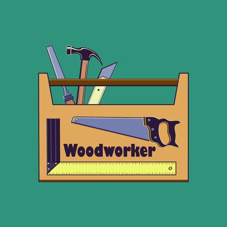 menuisier: Travaux de charpenterie, icône, ensemble plat avec des outils de charpentier produits de menuiserie