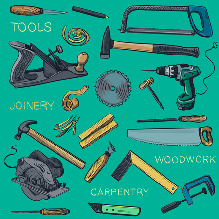woodwork: Collection of hand drawn Carpentry, woodworker, joinery icons. Craft Woodwork Screwdriver Table Hamme, Carpenter. Illustration