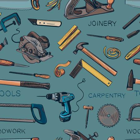 menuisier: Motif de divers menuiserie, menuisier, outils de menuiserie. Craft Boiserie Tournevis Table Hamme, Carpenter.
