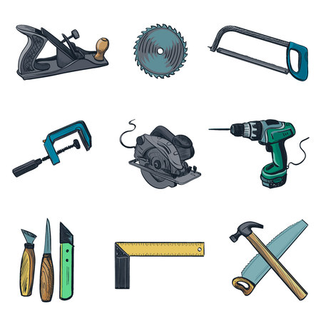 woodwork: Woodworking industry and Woodworking tools icons - vector icon set. Craft Woodwork Screwdriver Table Hamme, Carpenter.