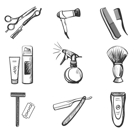 hair dryer: Barber and hairdresser related icons set with Scissors, razor, shaving brush, barber pole, shaving mirror, moustache, comp.