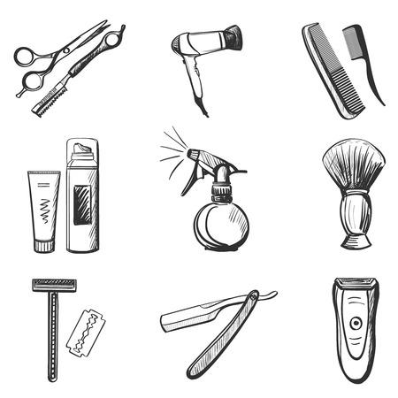 Barber and hairdresser related icons set with Scissors, razor, shaving brush, barber pole, shaving mirror, moustache, comp.