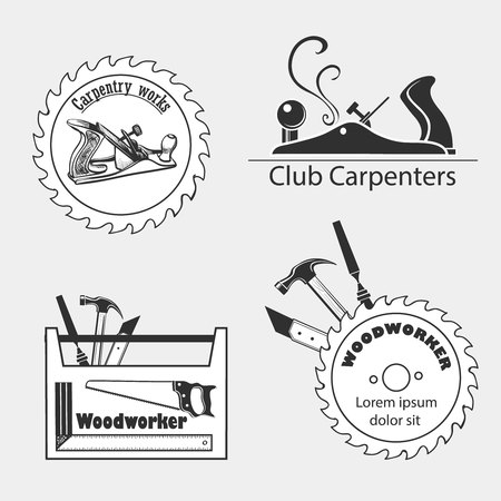 Carpentry works icons flat set with tools carpenter joinery products isolated illustration