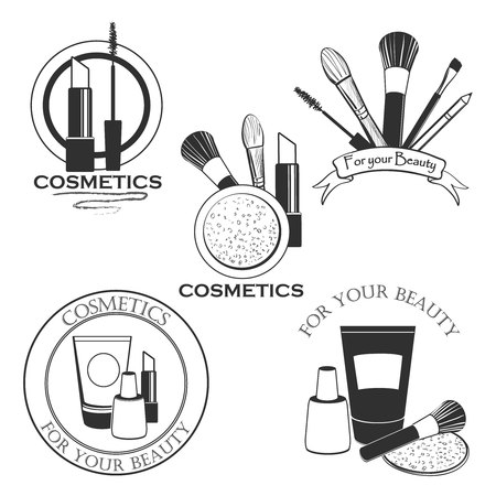 blush: Cosmetics set label for your product or design with mascara, lipstick, creams, nail polish, powder, eye shadow, blush, brushes, glitter, lip