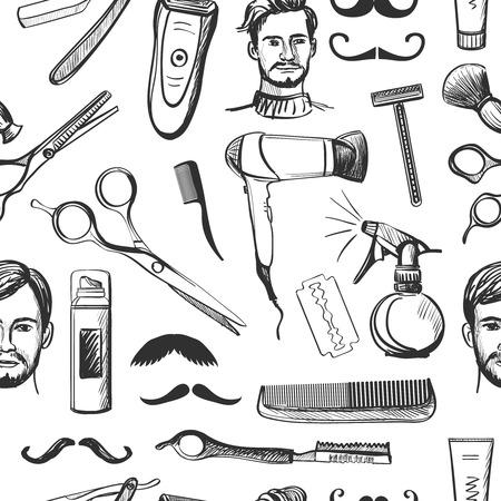 手描きレトロな理髪店のシームレスなパターンはさみ、かみそり、シェービング ブラシ、シェービング ミラー、口ひげ、コンプ、バーバー ポール
