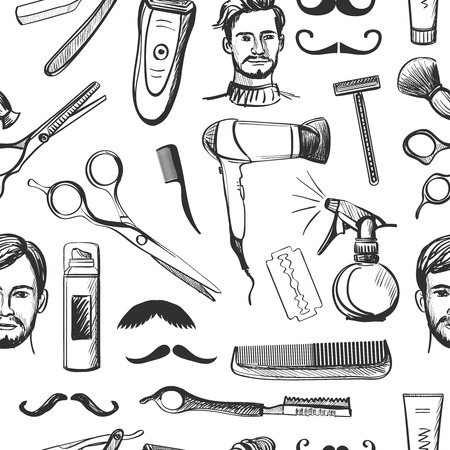Hand drawn retro barbershop seamless pattern with Scissors, razor, shaving brush, barber pole, shaving mirror, moustache, comp.