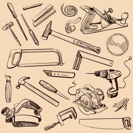 carpintero: Iconos de carpintería establecen. Carácter Carpintero en el trabajo. Instrumento de la madera de la carpintería antigua - Artesanía Carpintería Destornillador Tabla Hamme, Carpintero. Vectores