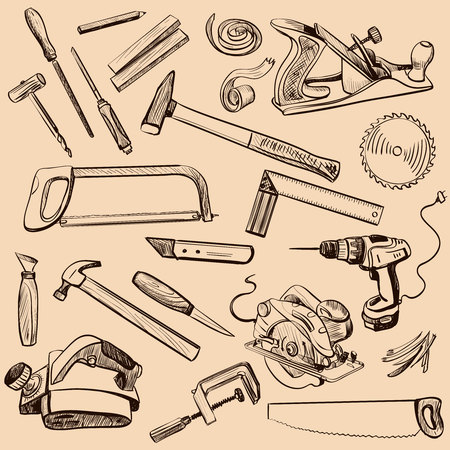 woodwork: Joinery icons set. Carpenter character at work. Woodworking tools of antique joinery - Craft Woodwork Screwdriver Table Hamme, Carpenter. Illustration