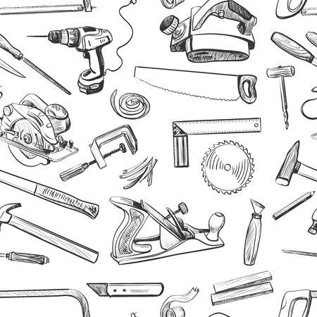 Vector seamless pattern with hand drawn common hand tools used by carpenters. Craft Woodwork Screwdriver Table Hamme, Carpenter.  イラスト・ベクター素材