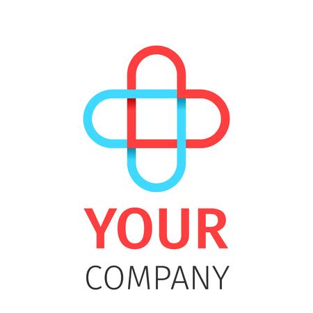 Pharmacy, Medicine, Healthcare cross abstract vector logo design template. Health concept, healthcare design, medicine cross