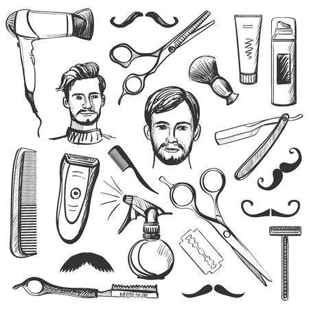 Set of vintage barber shop elements with Scissors, razor, shaving brush, barber pole, shaving mirror, moustache, comp. Stock Illustratie
