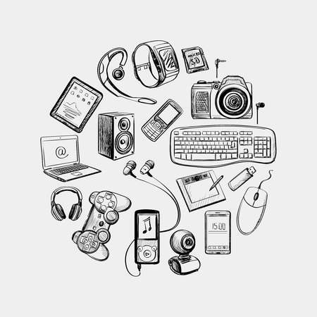 Circular design of hand drawn electronic gadget with notebook, phone, game pad, photo camera, tablet, pc, flash card, headphones, watches, computer, laptop, monitor and other