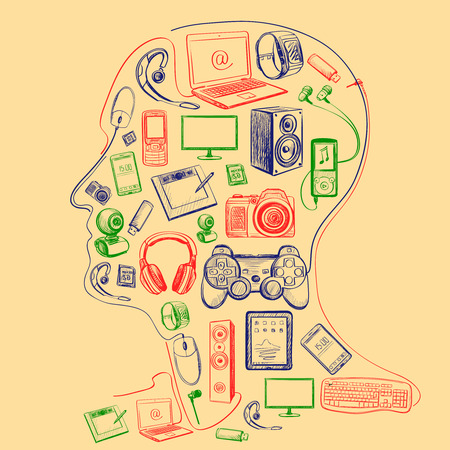 tablet pc in hand: Hand drawn electronic gadget icons in man head with notebook, phone, game pad, photo camera, tablet, pc, flash card, headphones, watches, computer, laptop, monitor, headphones and other Illustration