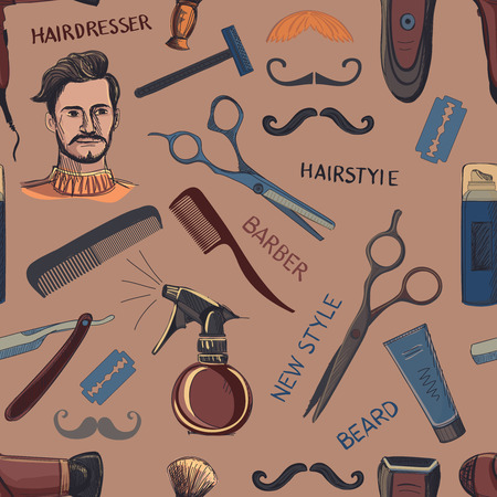 red hair beauty: Hand drawn retro barbershop seamless pattern. Scissors, razor, shaving brush, barber pole, shaving mirror, mustache, comp. Blue background