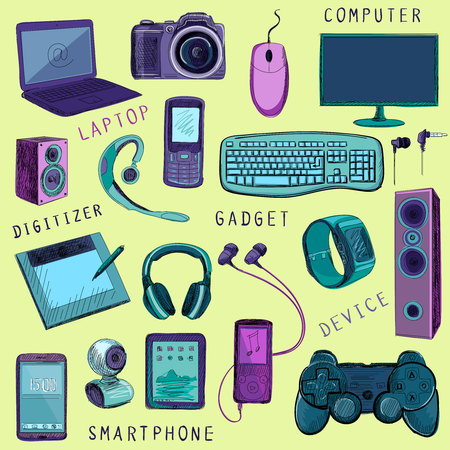 tablet pc in hand: Set of hand drawn GADGET icons with notebook, phone, game pad, photo camera, tablet, pc, flash card, headphones, watches, computer, laptop, monitor, headphones and other