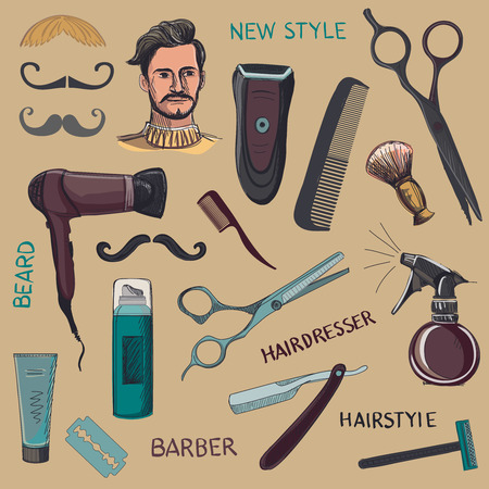 Set of vintage barber shop elements. Scissors, razor, shaving brush, barber pole, shaving mirror, mustache, comp. Blue background