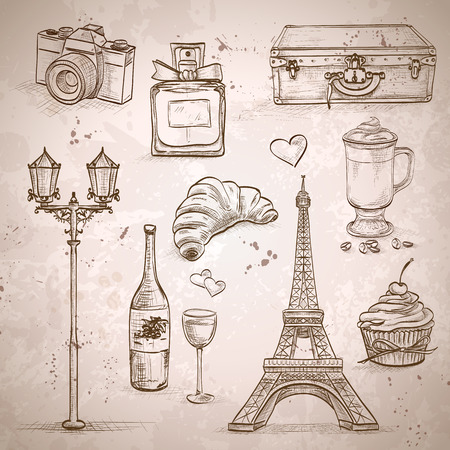 france: Vector elements of Paris with Eiffel Tower, perfume, Mademoiselle, cake, wine, croissant Illustration