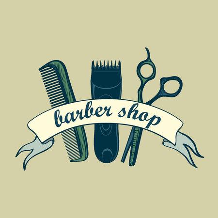 red hair: Vintage Barber Shop Label. Illustration