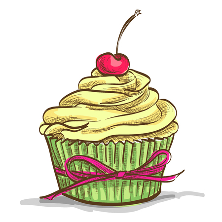 glace: Ice cream sundae cupcake with cherry, excellent vector illustration Illustration