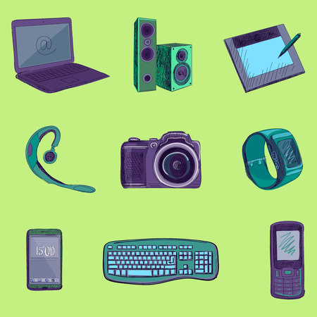 game pad: Gadget long shadow icons with notebook, phone, game pad, photo camera, tablet, pc, flash card, headphones, watches, computer, laptop, monitor, headphones and other