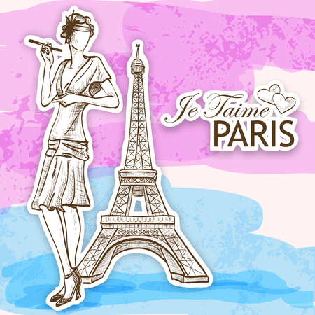 vintage fashion: Je taime paris lady. Style women on Eiffel tower background
