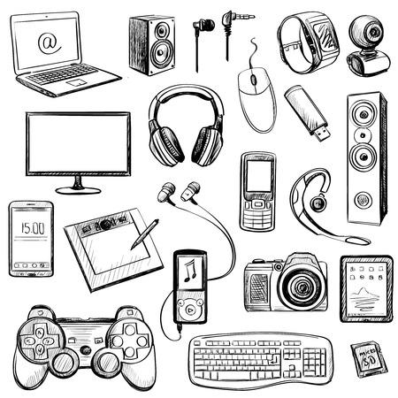Set di disegnati a mano icone gadget con notebook, telefono, game pad, macchina fotografica, tablet, PC, flash card, cuffie, orologi, computer, laptop, monitor, cuffie e altri Vettoriali